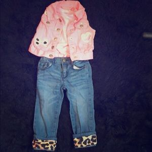 Bundle 1 pink vest and shirt with jeans 18M